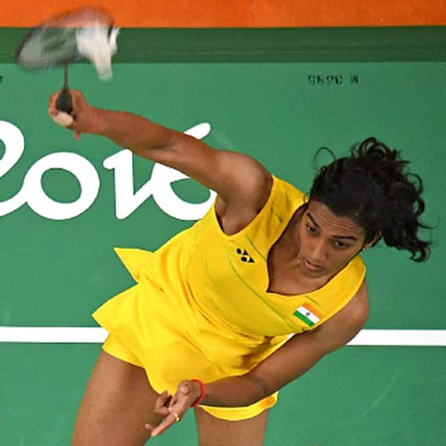 P V  Sindhu in action during day 11 of Rio Olympics 2016