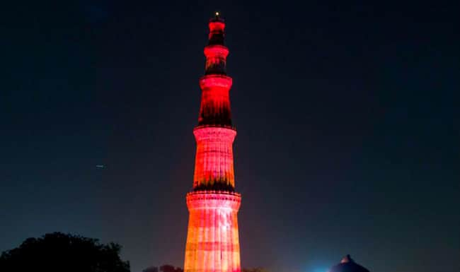 Qutub Minar lit up red  for World Hemophilia Day