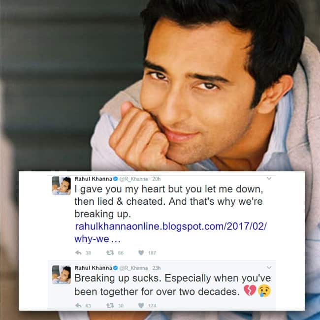 Rahul Khanna tweets about his break up