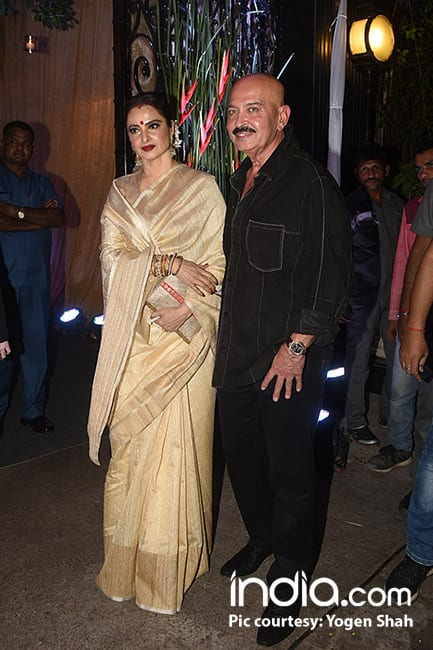 Rakesh Roshan with Rekha at his birthday bash