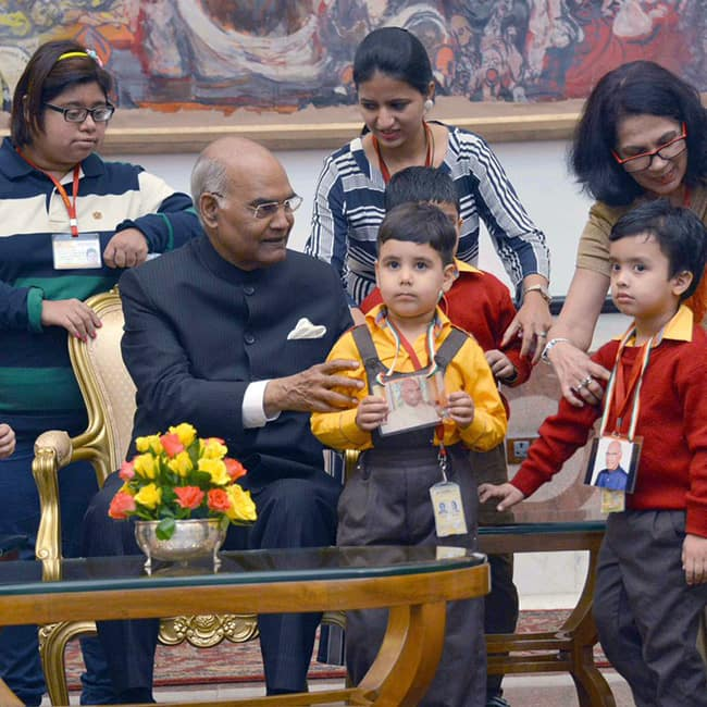 Ram Nath Kovind meets students on the occasion of Children's Day