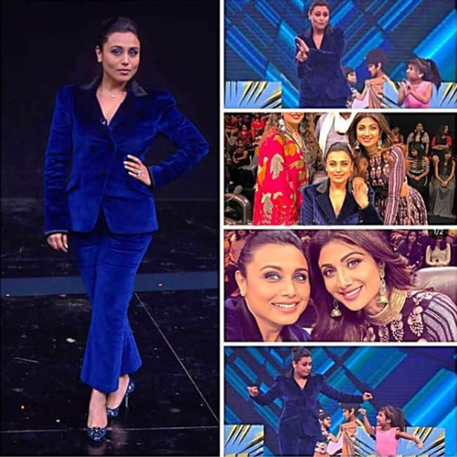 Rani Mukherji in Blue pant suit for Hichki promotions