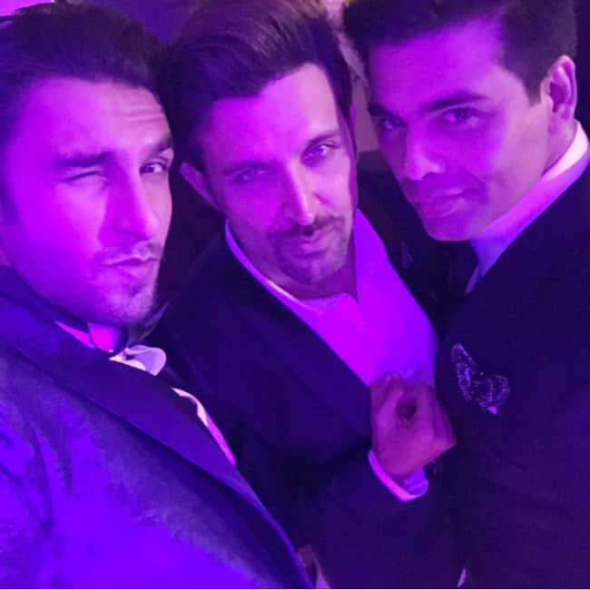 Ranveer Singh's selfie with Karan Johar and Hrithik Roshan at Anooshe Mussarat and Edmund Kissner's wedding
