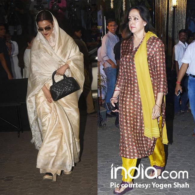 Rekha and Hema Malini at Shashi Kapoor   s Chautha ceremony