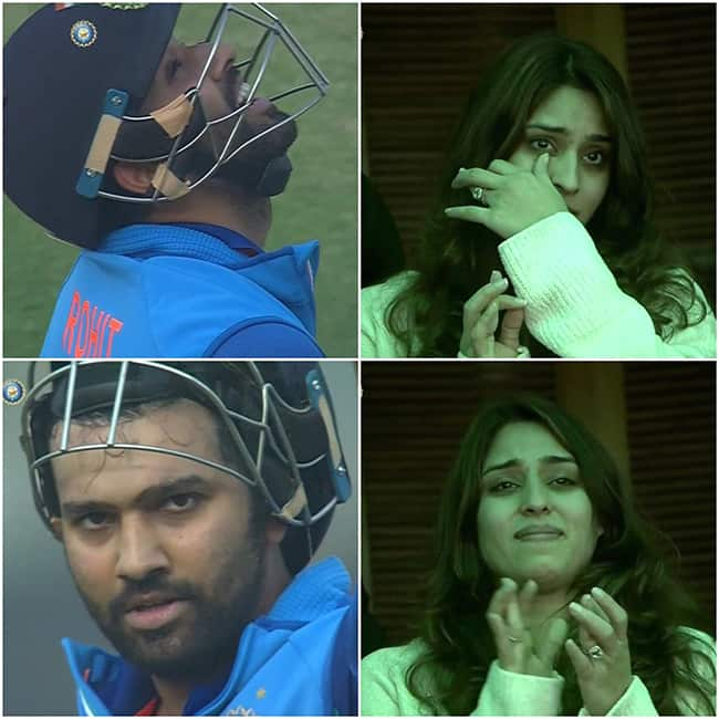 Ritika Sajdeh   s reaction as Rohit Sharma hits century