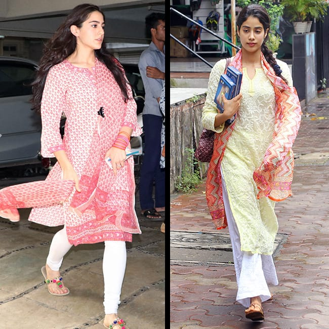 Sara Ali Khan and Jhanvi Kapoor in cotton kurtis