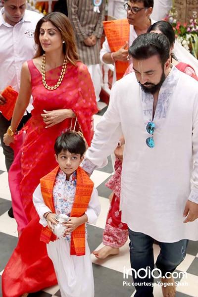 Shilpa Shetty Kundra with husband and son at Iskcon temple in Mumbai