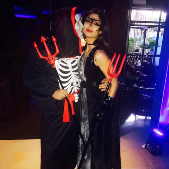 Shilpa Shetty with Raj Kundra during son Viaan's Halloween party
