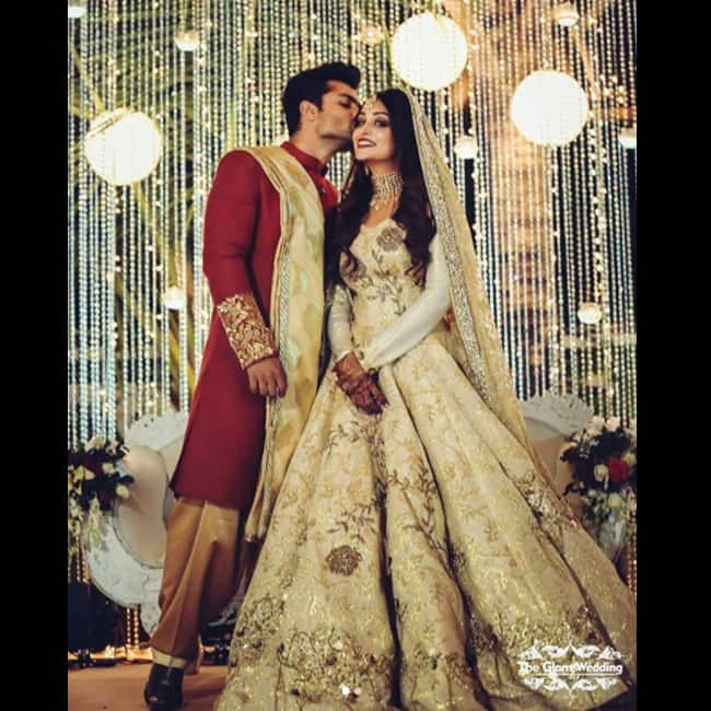 Shoaib Ibrahim kissing wife Dipika Kakkar at their wedding reception