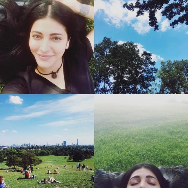 Shruti Haasan chilling at a park in London