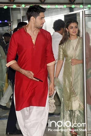 Love birds Sidharth Malhotra and Alia Bhatt appear together Ekta Kapoor star studded Diwali party