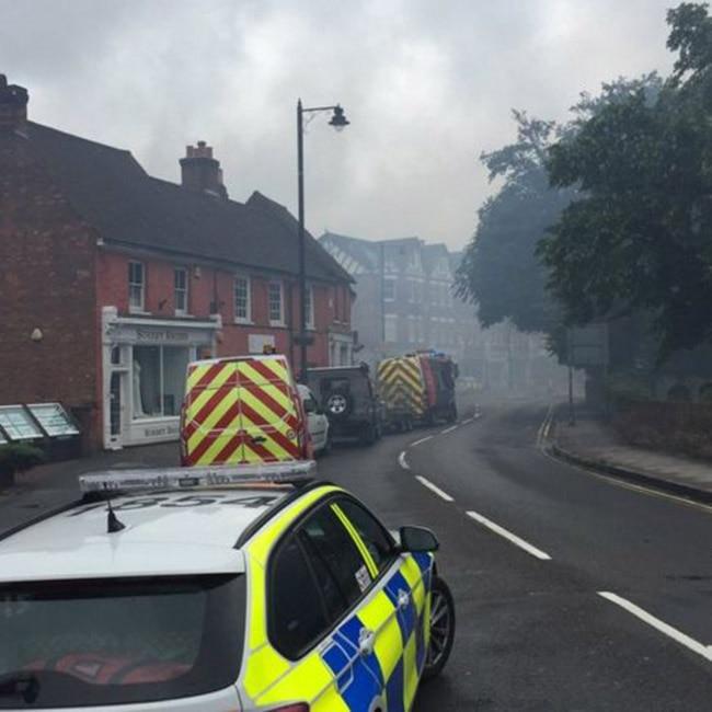 Smoke rising after fire scene at Weybridge Community Hospital  UK