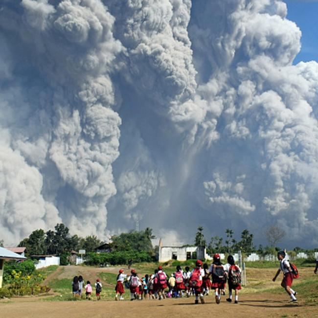 Smoke rising from Mount Sinabung in Sumatra  Indonesia
