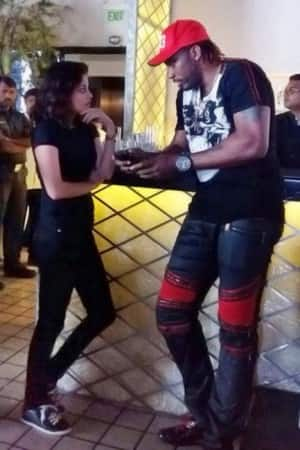 Actress Sneha Ullal parties with West Indies cricket players Chris Gayle and Dwayne Bravo