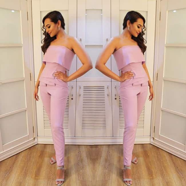 Sonakshi Sinha in mauve color outfit