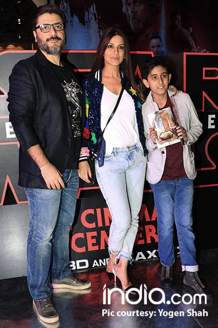 Sonali Bendre with her family at special screening of Star Wars  The Last Jedi
