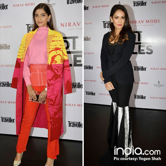 Sonam Kapoor and Mira Rajput at the Conde Nast Traveller   s exclusive dinner