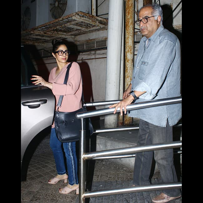 Sridevi Kapoor with husband Boney Kapoor at a multiplex in Mumbai