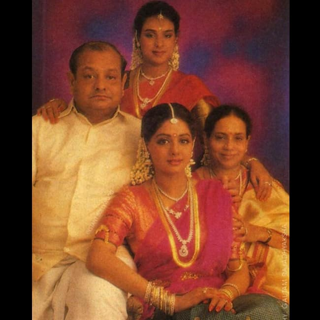 Sridevi with her father  mother and sister