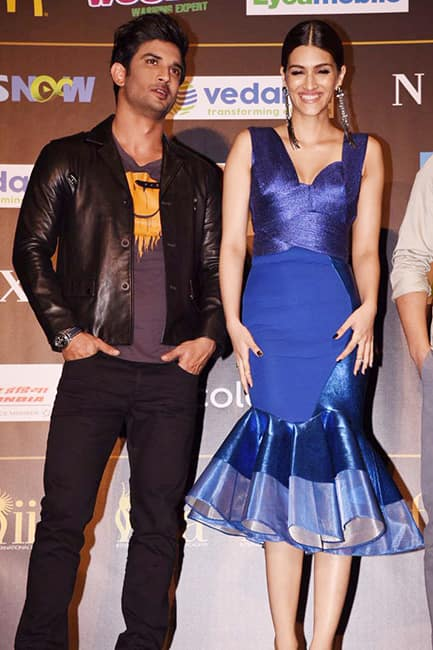 Sushant Singh Rajput with Kriti Sanon during IIFA 2017 press conference