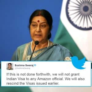 Amazon removes Indian flag doormats after Sushma Swaraj's visa threat