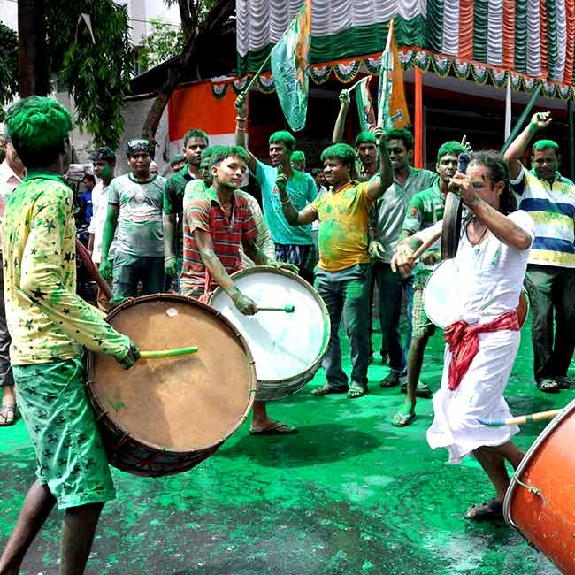 TMC workers celebrate party's victory