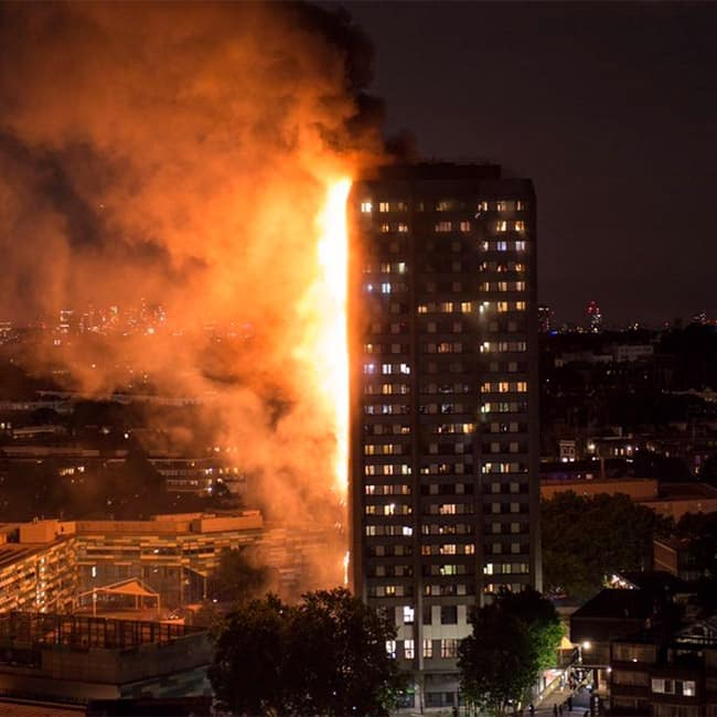View of 27 storey apartment gutted in fire in London