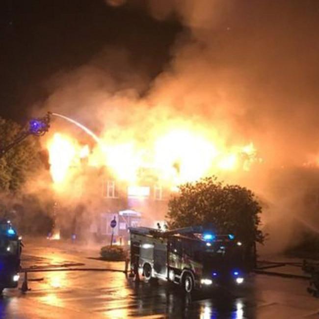 View of major fire at Weybridge Community Hospital  UK