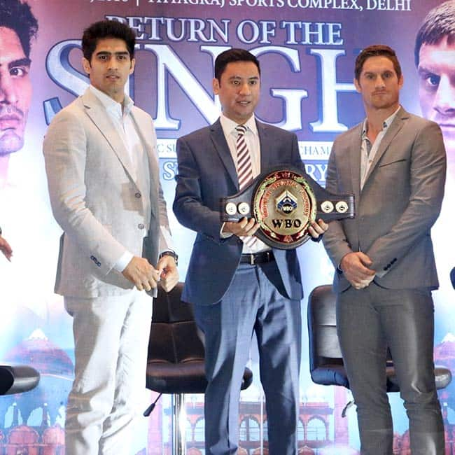 Vijender Singh and Kerry Hope during WBO Asia Pacific Super Championship press meet