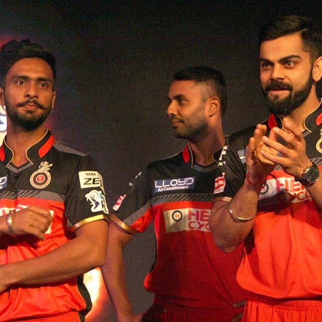 Virat Kohli clicked at the launch of RCB's new team jersey