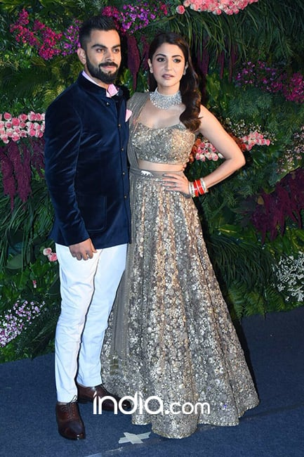 Virat Kohli with wife Anushka Sharma at their reception ceremony