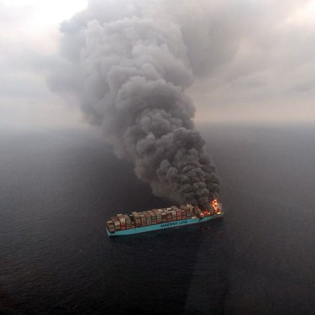 Visual of ship that caught fire in Agatti  Lakshadweep island