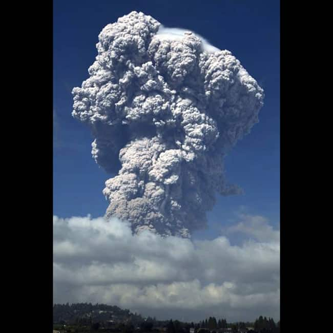Volcanic ash from Mount Sinabung volcano in Indonesia