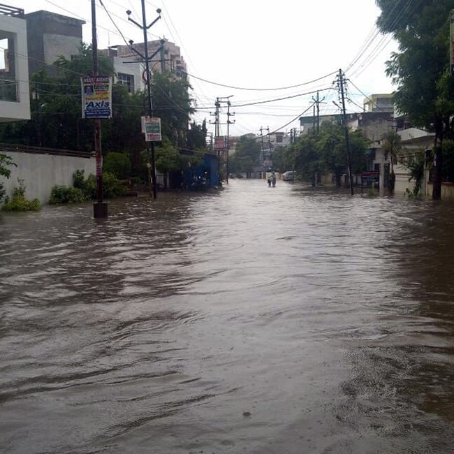 Water logged roads of Allahabad
