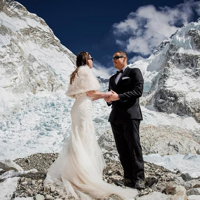 Wedding Couple shot at Mount Everest base