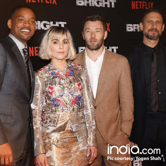 Will Smith  Noomi Rapace and Joel Edgerton during Bright promotional event in Mumbai