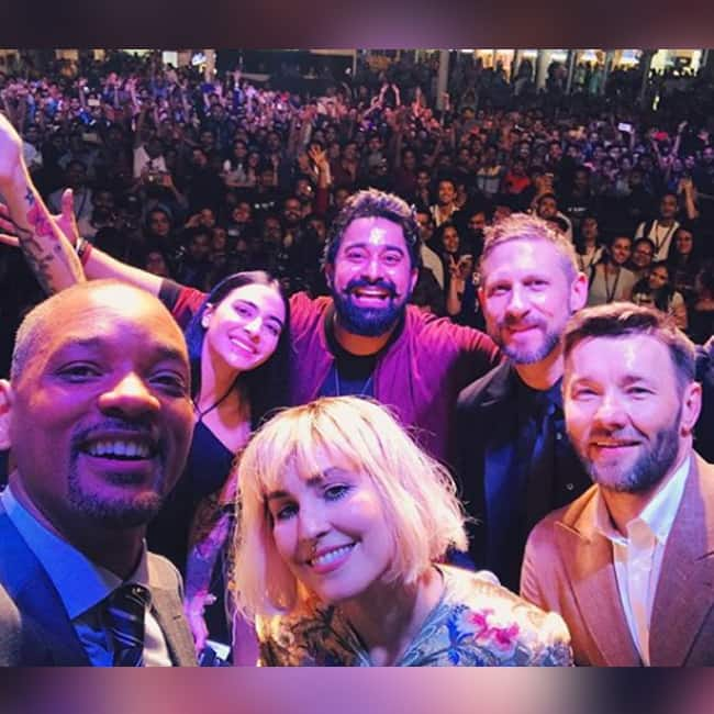 Will Smith with the cast of Bright  Rannvijay Singha and VJ Bani