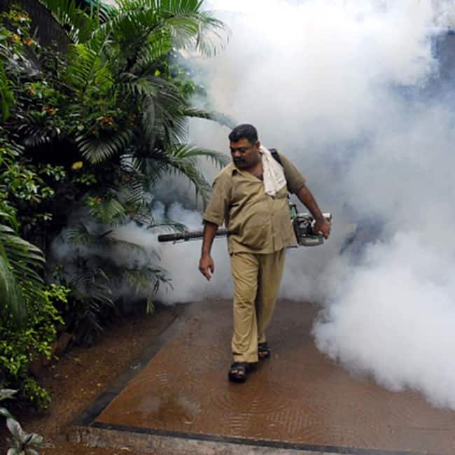 Worker spraying mosquito repellent during Monsoon