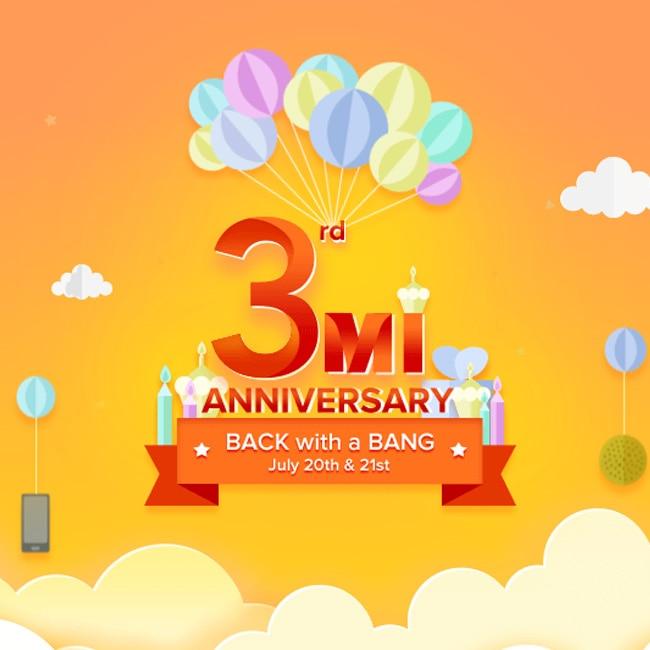 Xiaomi's 3rd Mi Anniversary sale starts today