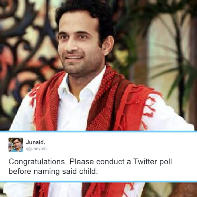 Cricketer Irfan Pathan blessed with baby boy  fans advice him for NOT naming son as Taimur