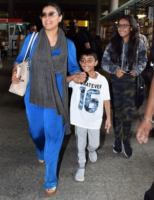 Ajay Devgn And Kajol's Son Yug in Playful Mood at The Airport