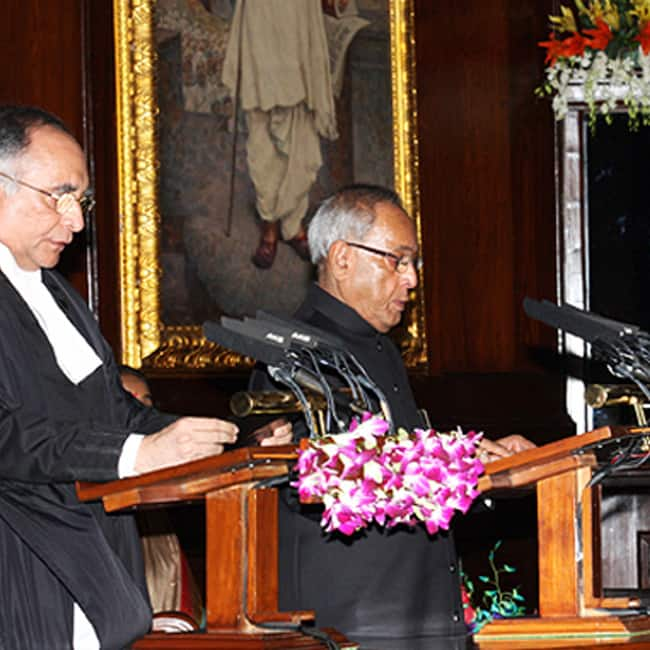 A picture of Pranab Mukherjee while taking oath as President of India in 2012