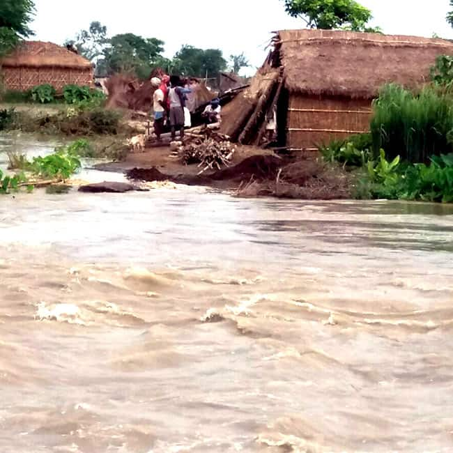 A view of flooded village in Supaul district of Bihar