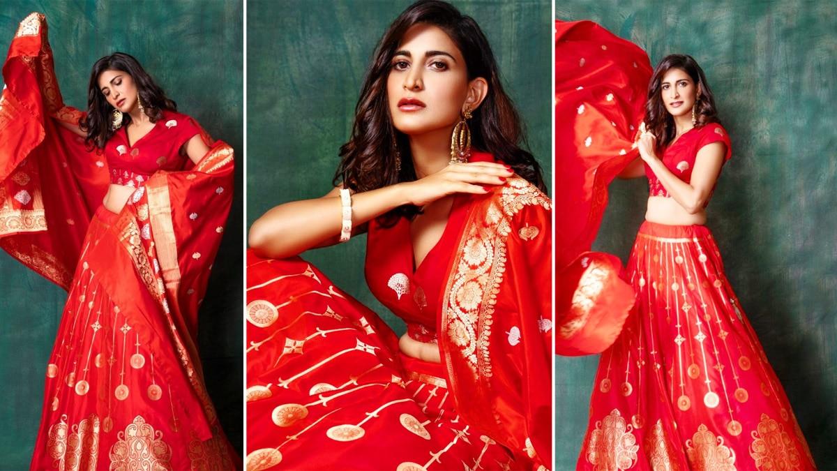 Aahana Kumra Stuns In Banarasi Silk Red Golden Lehenga