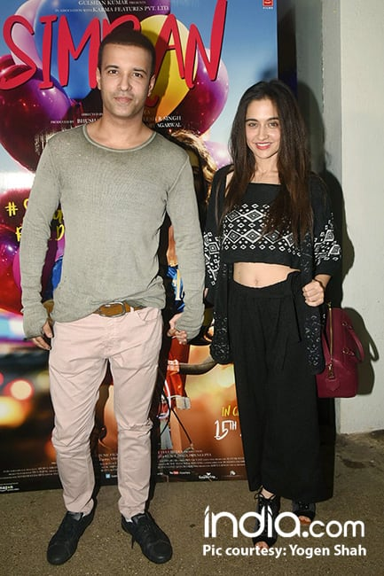 Aamir Ali and Sanjeeda Sheikh during special screening of Simran