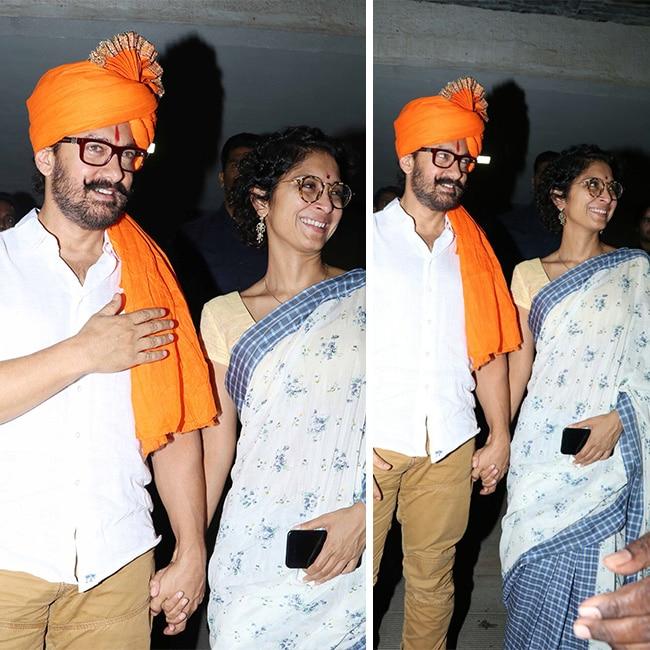 Aamir Khan and Kiran Rao greeting media during birthday bash