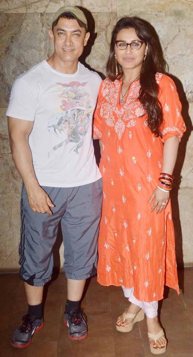 Aamir Khan and Rani Mukerji at the screening of movie Mardaani