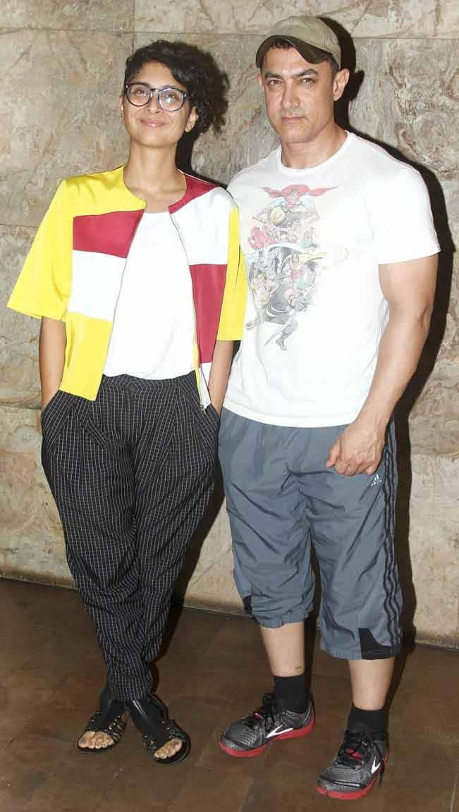 Aamir Khan clicked with his wife at the screening of movie Mardaani