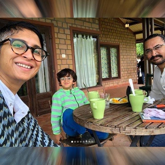 Aamir Khan  Kiran Rao with son Azad during vacation