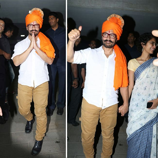 Aamir Khan snapped during his birthday bash